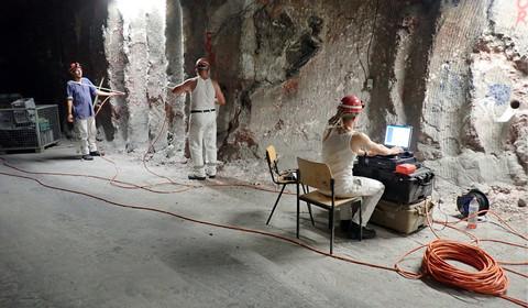 Bohrlochradarmessungen am Stoß im Salzbergwerk
