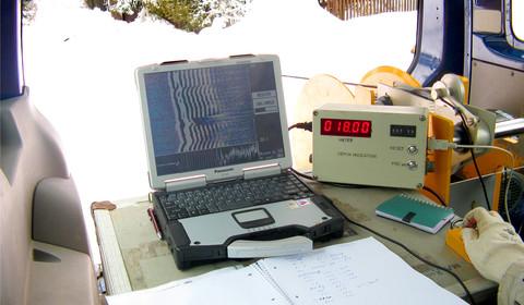 Bohrlochradarmessung mit Teufenzähler und Kabelwinde